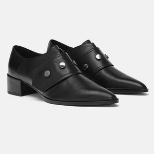 Zara Leather Pointed Toe Studded Velcro Loafer